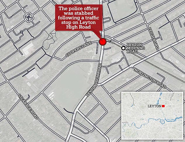 The map above shows the area in Leyton, east London where the officer was attacked after doing a routine vehicle stop