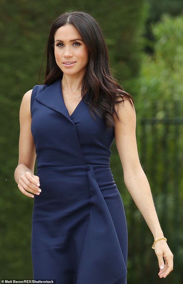 Lady Colin Campbell has claimed the Duke and Duchess of Sussex 'trot out the charm when it suits them' but are 'otherwise graceless' in a new interview with Woman magazine. Pictured, Meghan at Government House in Melbourne on her tour of Australia on 18 October 2018