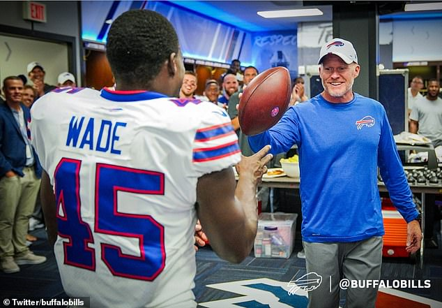 Wade was presented with the match ball afterwards by Bills head coachSean McDermott