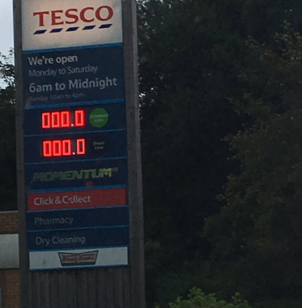 In Cheshire, a major power outage left people unable to purchase fuel at Tesco. And it even appeared as if the store was giving it away for free