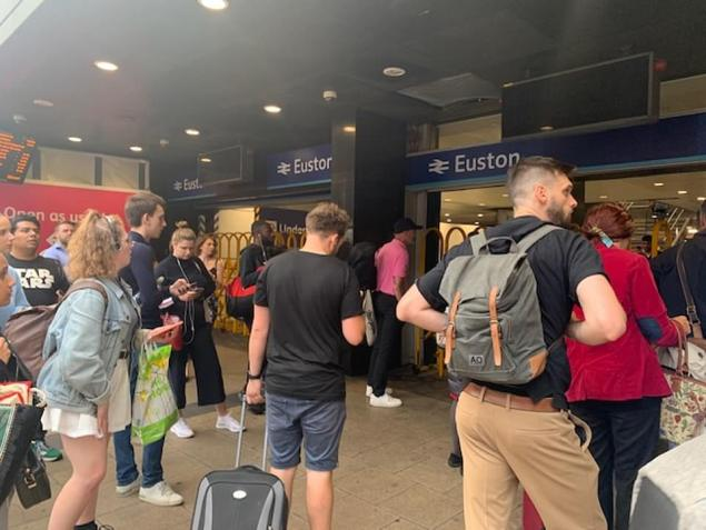 Commuters were prevented from entering Euston station in London this afternoon after a power cut hit parts of the capital