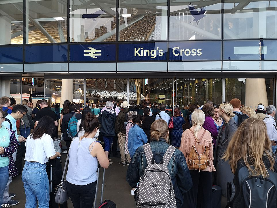 People were prevented from entering King's Cross station following a major power cut in the capital today. Other areas of the country were also affected