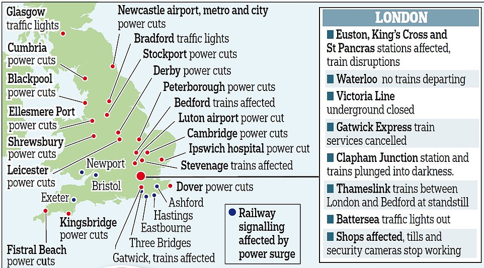 Large swathes of the country were affected by power cuts yesterday including Bristol, Exeter and Newport. The capital was particularly badly affected, with the Victoria Line closed and King's Cross evacuated