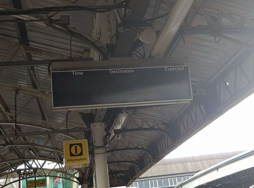 Passengers waiting for their trains were left staring at blank screens as the major power cut caused chaos across the country. BritishBritish Transport Police officers are assisting at stations