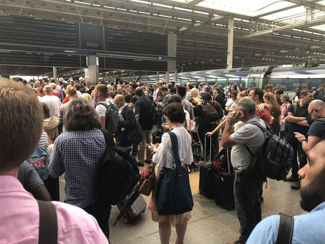 Huge queues gathered at St Pancras station this evening as information boards went blank