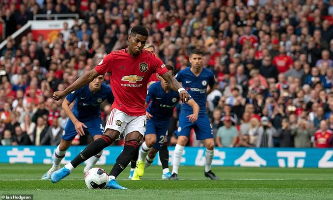 Marcus Rashford converted from the penalty spot to give Manchester United the lead after 18 minutes on the clock