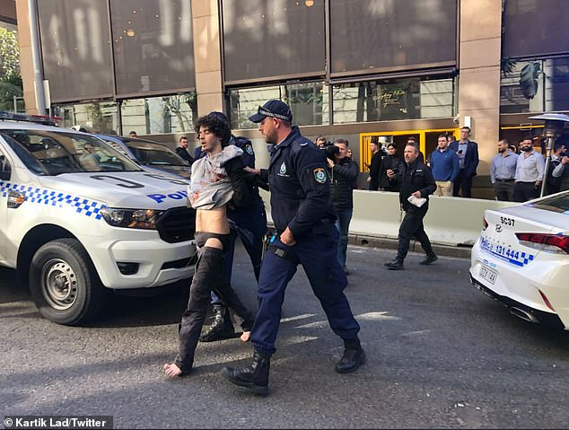 Police were called to King and Clarence Streets in Sydney, near Wynyard Station at about 2pm on Tuesday