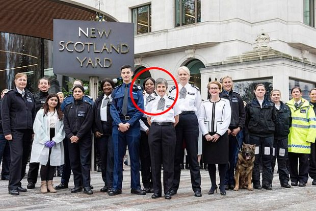 Pictured: Met Police Commissioner Cressida Dick (front and centre) with PC Kareem stood behind her on her immediate right as the Met celebrated 100 years of women working in the force in November last year