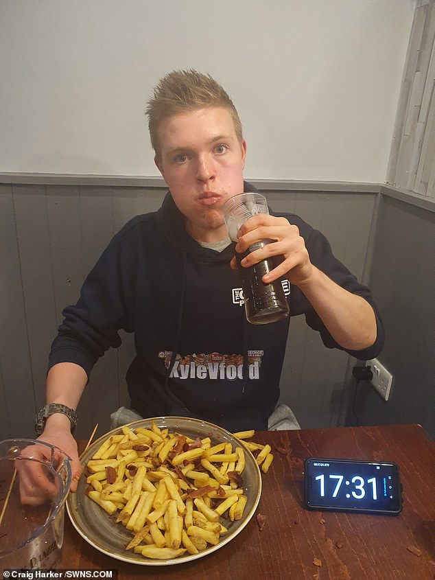 Kyle, who took 20 minutes to eat it, said: 'That burger was absolutely delicious, the best I've ever tasted. It was so soft, full of flavour, and filled a small hole. Overall, it's a quality burger'