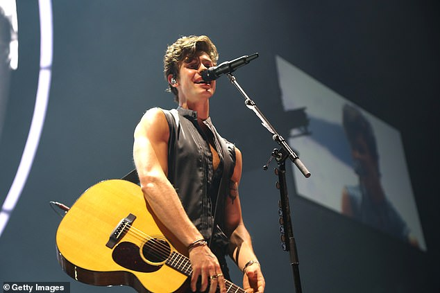Stage presence: While Monday was all about relaxing, Shawn was hard at work on stage in Newark, New Jersey Sunday night