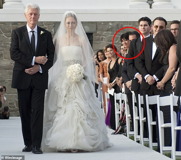 Close: Ghislaine Maxwell (circled) was so close to the Clintons that she attended Chelsea's wedding to Marc Mazvinsky in 2010. She furiously denied Virginia Roberts' account that Jeffrey Epstein held a dinner for Bill Clinton on his pedophile island in 2001, shortly after he left office