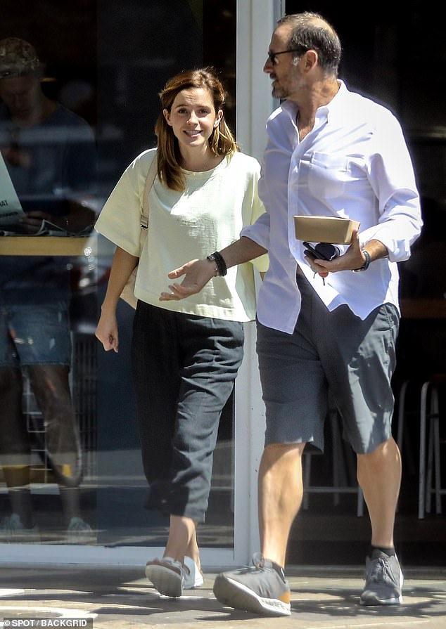 Lunch date: Emma Watson was spotted Tuesday stepping out for lunch with a friend in Los Angeles