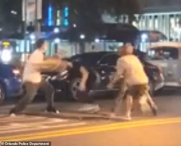 Video of the incident, in which several suspects, possibly in their late teens to early twenties, are seen using their skateboards to attack the man