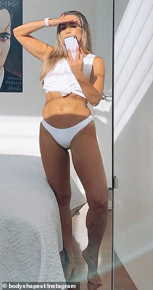 Killer curves: Married At First Sight's Nadia Stamp (pictured) had fat cavitation on her hips and abdomen, along with contouring on her waistline to sculpt her enviable physique