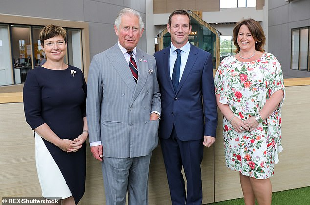 Rachel Clacher (left) and brother Ed Reeves (centre), who co-founded Moneypenny, are pictured with Prince Charles at the opening of the company's new headquarters in Wrexham,