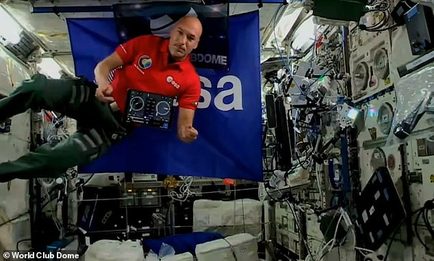 World first: According to the European Space Agency, the 42-year-old used music 'to connect across cultures' and illustrate the advances in space technology