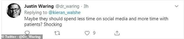 Justin Waring wrote: 'Maybe they [Culcheth Medical Centre] should spend less time on social media and more time with patients? Shocking'