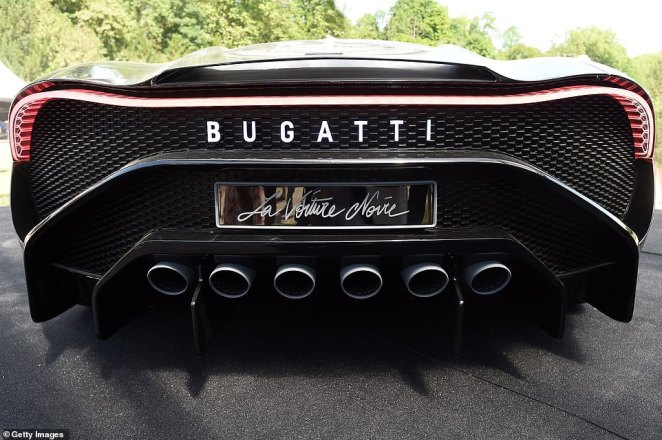 The six tailpipes on La Voiture Noire were a detail suggested by the buyer's wife, according to Bugatti