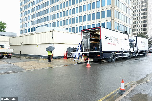 Production: Production crew pictured setting up in the location to film series three