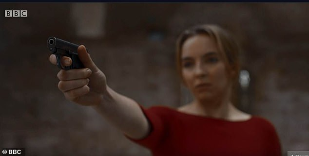 Suspense:Meanwhile, Sandra previously refused to confirm whether her character Eve is dead or not after the season two cliffhanger (Villanelle pictured shooting her in a show still)