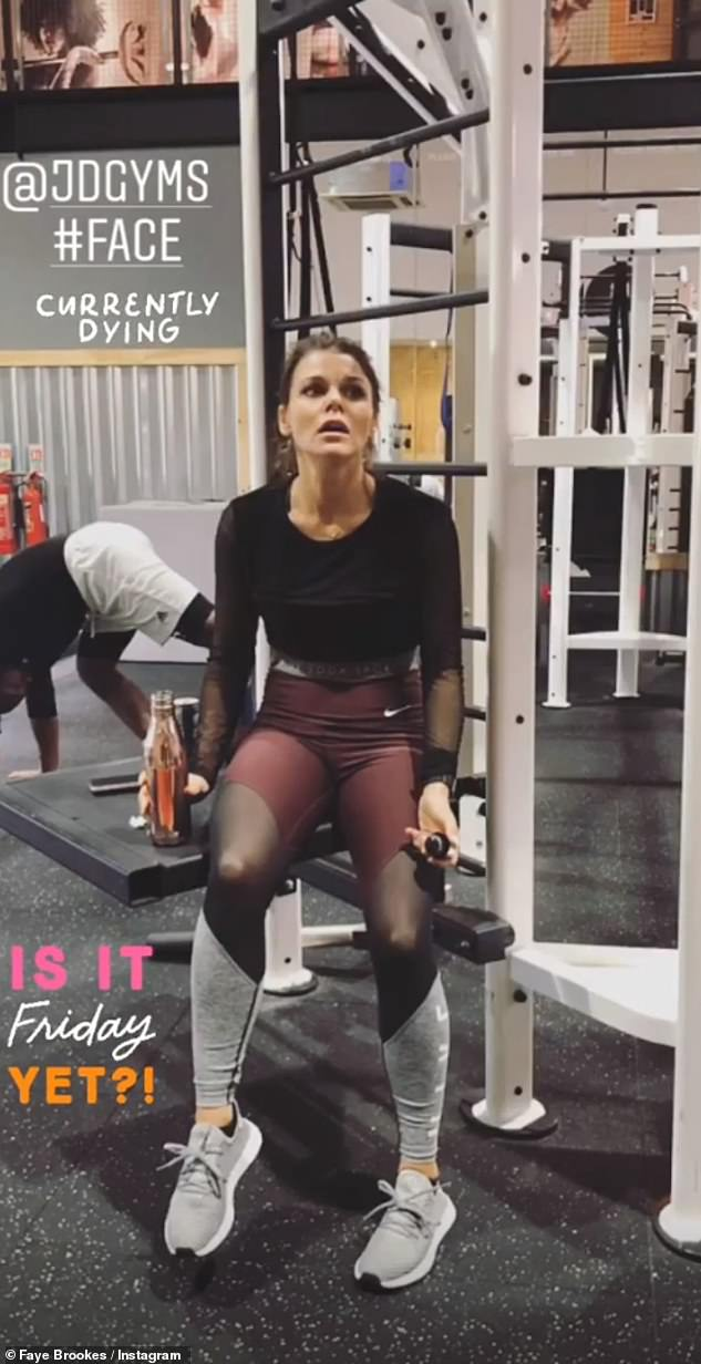 It continues: Faye shared a photo of herself at the gym on Wednesday, as well as a series of inspirational quotes
