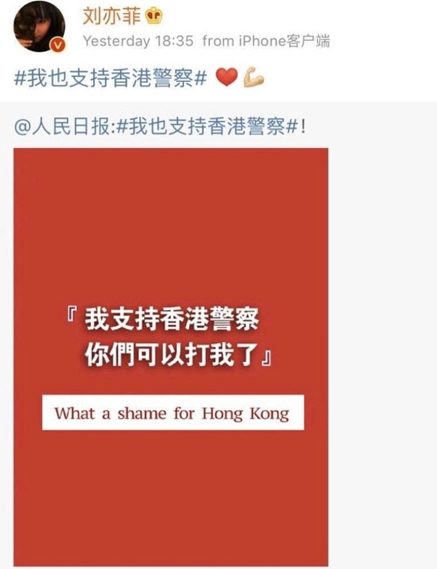 The leading actress, Liu Yifei posted a message on Chinese Twitter-like Weibo supporting Hong Kong police. The message led to a hashtag #BoycottMulan to trend on social media