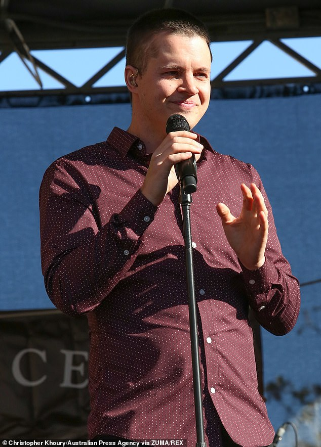 Johnny Ruffo is in good spirits as he performs at the ...