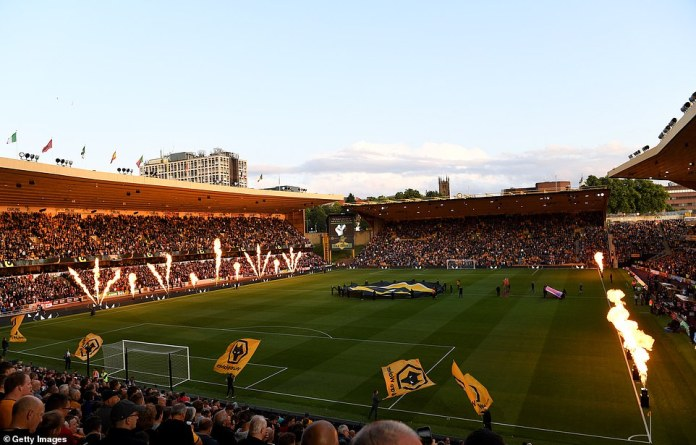 Wolves put on a loud and colourful display just moments before kick-off in the Premier League at the Molinueux