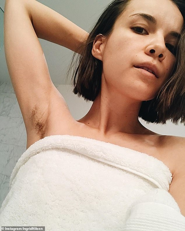 Over it: Ingrid, pictured in November 2018, explained in February that shehad been exploring her relationship with body hair for about nine months and had stopped shaving and waxing