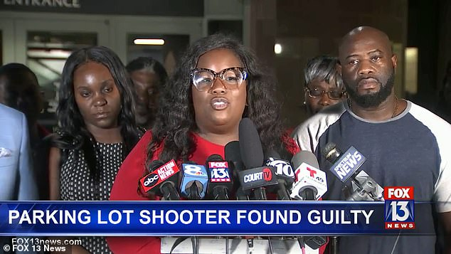 Michelle Rayner (pictured), attorney for Markeis McGlockton's parents, said: 'I want to express thankfulness and gratefulness to the law firm and the office of the state attorney'