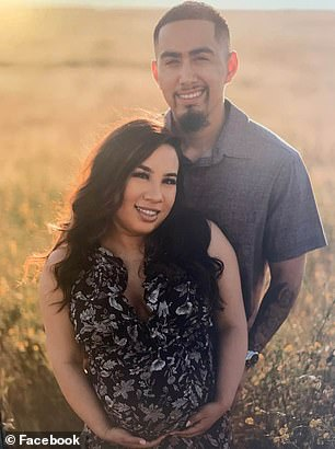 She was given medication by Dr Arthur Park and told to keep track of her blood pressure at home. Pictured: Dominguez with her fiancé