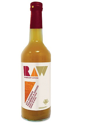 RAW VIBRANT LIVING ORGANIC APPLE CIDER VINEGAR WITH TURMERIC & GINGER 500ml, £4.29, ocado.com Per serving (30ml): Cal, 2; saturated fat, 0g; sugar, 0.2g; salt, trace