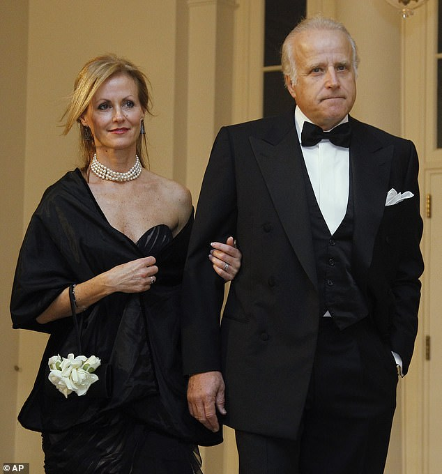 Over the past few years, several accusations of Joe Biden's relatives attempting to profit from his public standing have arisen. The new book details the period when Jim Biden(pictured with wife Sara)was running Paradigm with his nephew Hunter