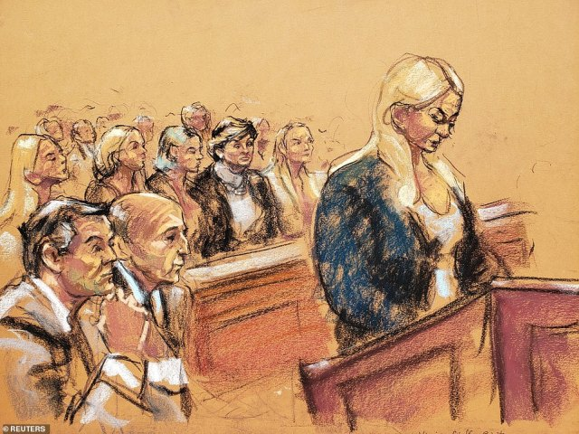 Image result for Virginia Roberts court sketch