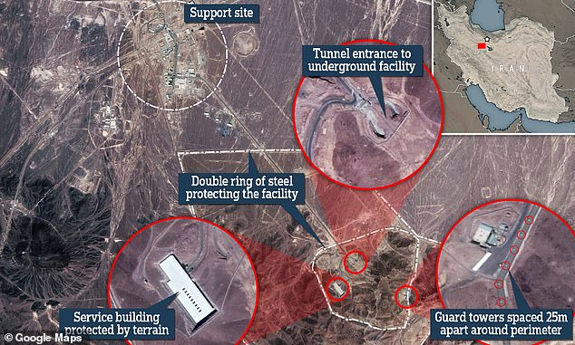 Above is a map of the uranium enrichment site in Fordow near Qom, Iran. Guard towers are spaced 25 metres apart along the perimeter which is protected by a double ring of steel. There is also an underground tunnel entrance to the facility