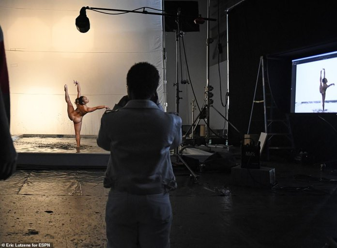 Stunning: Behind-the-scenes shots show Katelyn leaping through the air and posing in water for the new issue