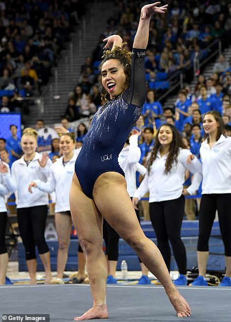 Killing it: Katelyn went viral for her infamous floor routine in January