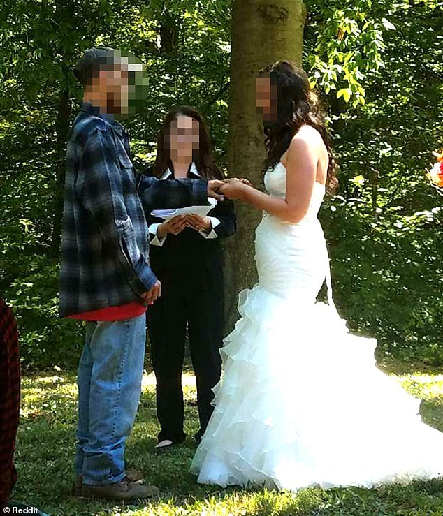 Mismatched: A groom is being slammed online for getting married in a flannel shirt and dirty jeans when his bride was dressed up in a full-length gown