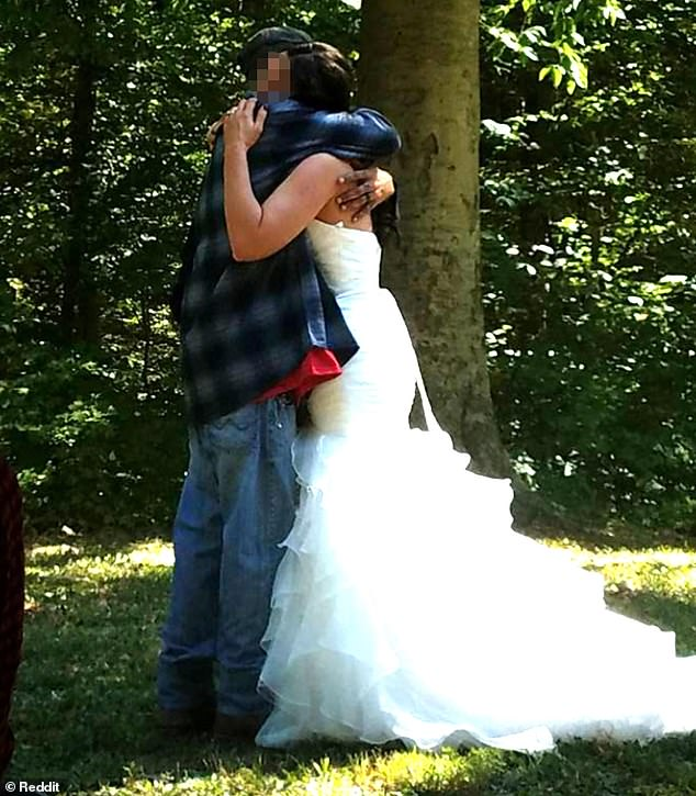 They seem happy: Pictures from the couple's outdoor wedding show him wearing a baggy flannel over a red T-shirt, grass-stained jeans, a baseball cap, and boots