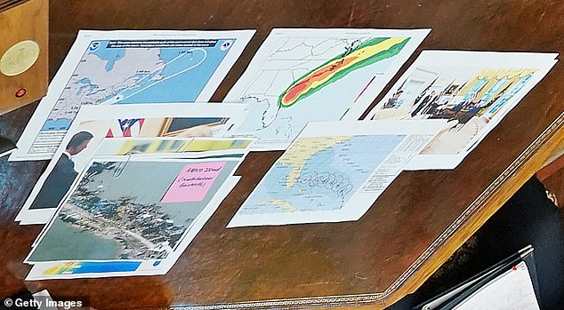 Also on the Resolute Desk: Trump's briefing appeared to include a picture of 'Abaco Island' in the Bahamas, labeled 'North eastern Bahamas' and previous hurricane maps
