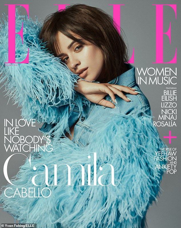 Babe in blue: For the cover, the Havana crooner wore a denim jacket with feathers. The photographer isYvan Fabing with styling byAnna Trevelyan