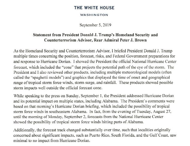 ALABAMA GETAWAY: The White House released a letter from Trump security advisor Admiral Peter J. Brown on the storm's potential impact on states 'including Alabama'