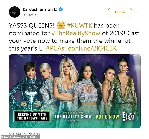 Diffusé le 10 novembre sur E! Le clan Kardashian-Jenner a été nominé pour quatre trophées, dont celui de la meilleure émission de téléréalité, aux People's Choice Awards.