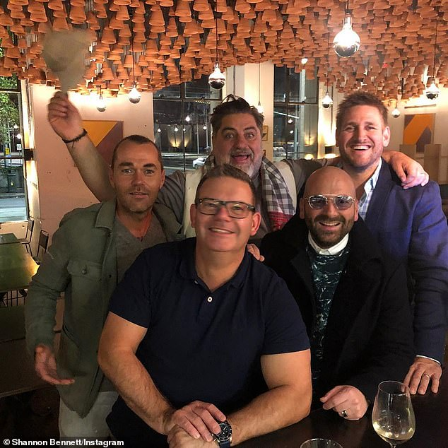 Bennett (left) pictured with former MasterChef judges George Calombaris (bottom right), Matt Preston (top middle) and Gary Mehigan (bottom middle). Pictured far right is guest chef Curtis Stone