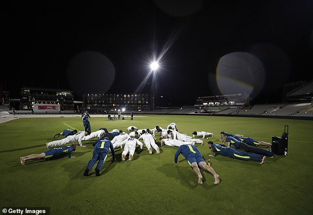 Celebrations continued with chants of'Who did we beat? England. How did we do it? Easy' followed by the team getting down and doing press ups