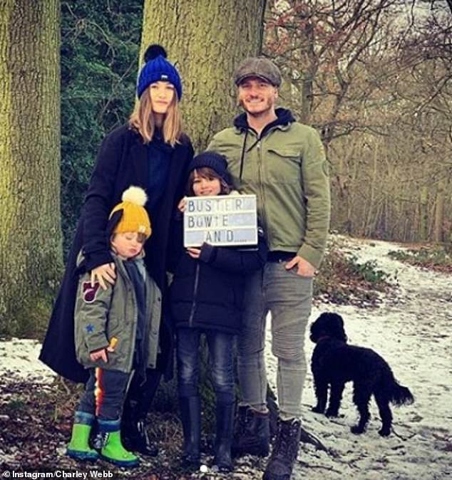 Family: The Emmerdale star recently became a mum-of-three in July but had to endure nasty commentary from online trolls, who targeted her two eldest sons,Buster, 9, Bowie, 3, for their long hair