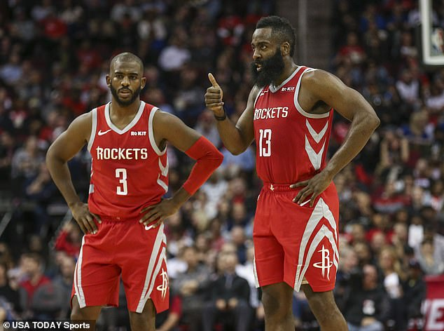 In the issue, Paul, here with teammate James Harden, reflected on how committing to a plant-based diet improved his health and physique and showed off his incredibly toned frame while posing naked on the court
