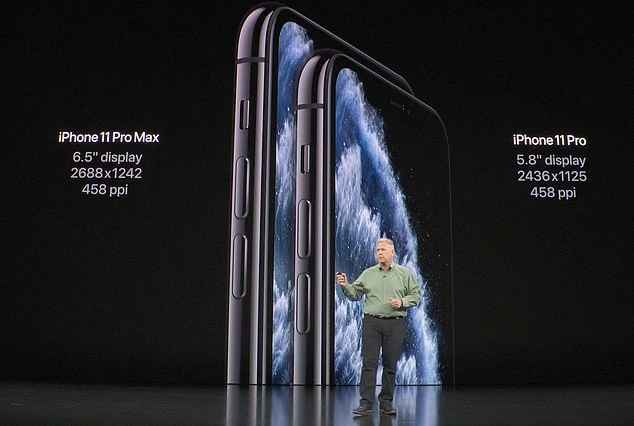 Apple also showed off its new premium model, the iPhone 11 Pro (pictured), which will come with either a 5.8-inch or 6.5-inch display