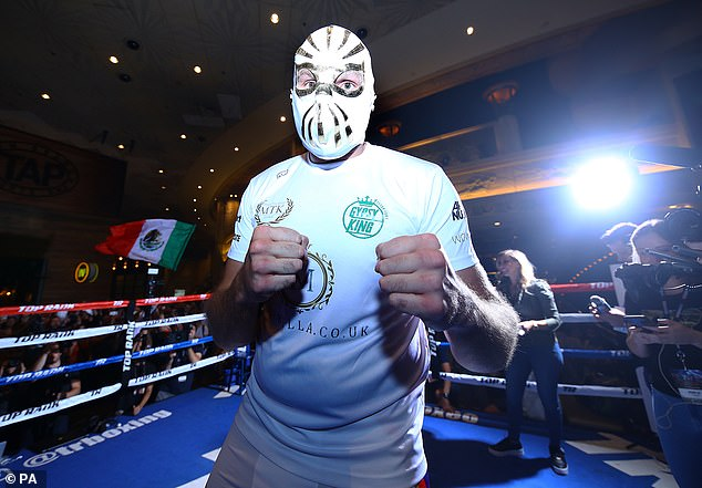 Fury donned a Mexican wrestling mask ahead of his public workout for the Otto Wallin fight