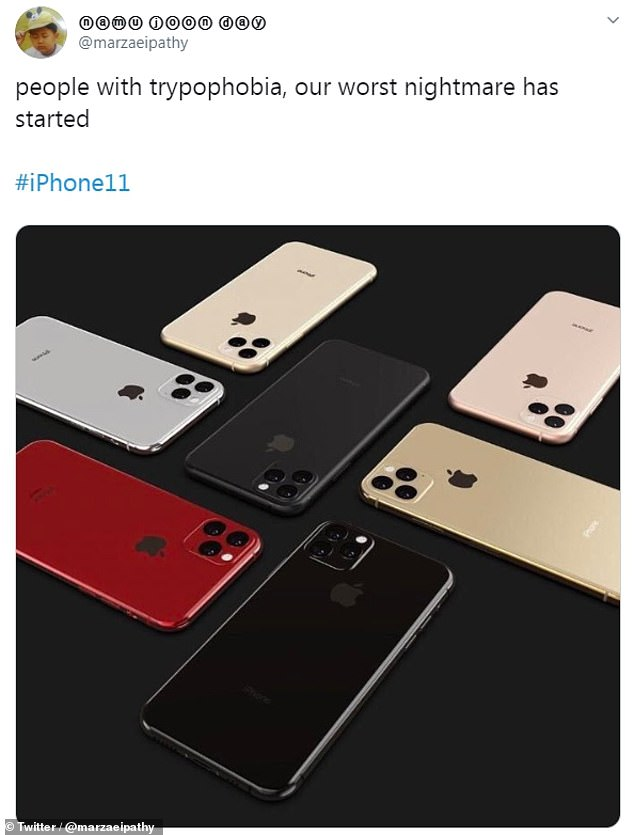 On Twitter, some users reported having strong aversions to the new design. 'I really can't deal with these #iPhone 11 mock ups with all the cameras on the back. They look like holes. Clusters of holes,' wrote Twitter user @ohdulcesss
